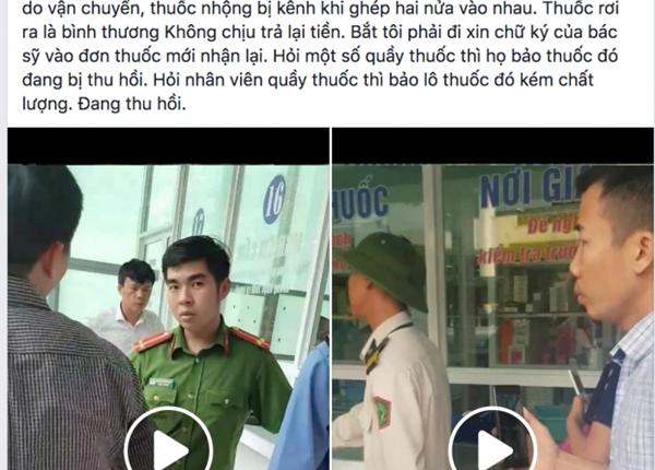 Tài khoản mạng xã hội đăng video và nhiều giấy tờ về việc mua phải thuốc kém chất lượng tại quầy thuốc trong BV Bạch Mai.