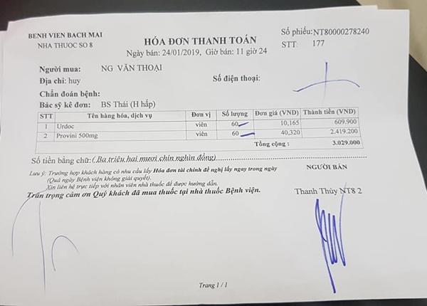 Đơn thuốc đều đặn được anh Thoại mua trong 1 năm trở lại đây tại quầy thuốc số 8 với 2 loại thuốc chính là Provini 500 mg, Urdoc. (Ảnh NVCC)