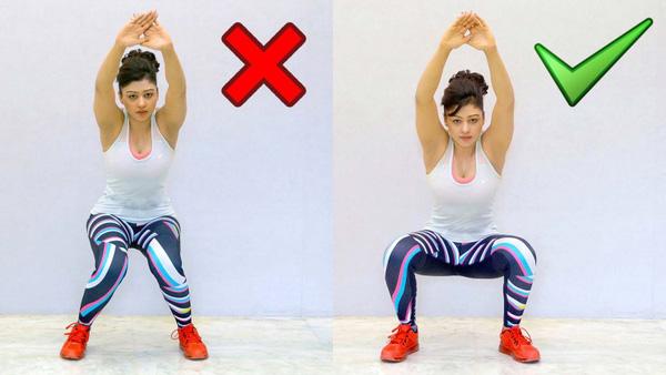 Khi squat tuyệt đối không được chụm đầu gối